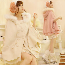 Sweet Princess Batwing Coat Poncho Fur Hooded Womens Cashmere blend Cape Cloak