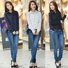 New Fashion Womens Chiffon Polka Dot Long Sleeve Loose Tops Blouse Casual Shirt