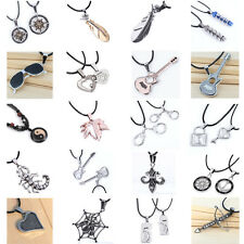 Fashion Charm Silver Jewelry Pendant Chunky Choker Faux Leather Chain Necklace