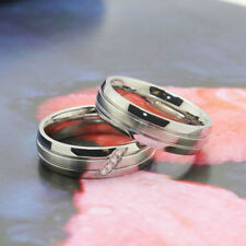 Silver Women/Men's Wedding Stainless Steel Engagement Couple Band Ring Size 7-10