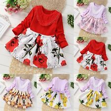 Tulle Baby Girls Long Sleeve Knitted Bow Infants Newborn Tutu Princess Dress