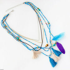 Vintage Feather BOHO Women Tassel Pendant Beads Collar Choker Bid Necklace Chain