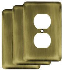 Franklin Brass Stamped Round 1 Gang Duplex Wall Plate Set of 3