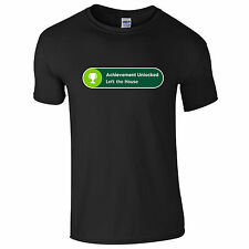 Achievement Unlocked Left the House T-Shirt - Funny Gamer Xbox One Gift Mens Top