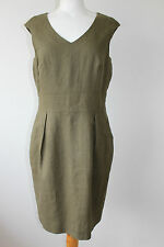 HOBBS LADIES LOVELY PENCIL DRESS DARK GREEN 100% FLAX SIZE 12   MUST SEE !