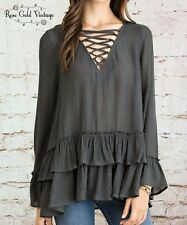 NWT Boutique Entro Lace Up Boho Ruffle Top - Charcoal - Small, Medium & Large