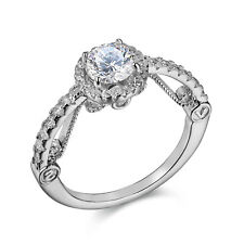 Vintage 1ct Round White Cz 925 Sterling Silver Wedding Engagement Ring Size 5-10