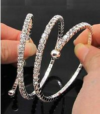 1-5rowClear Rhinestone Stretch Bangle Bracelet Diamante Bridal Wedding Wristband