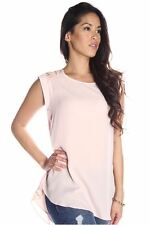 DEALZONE Gorgeous Sequence Accent Top S Small Women Pink Casual Short Sleeve