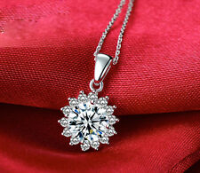 18K White Gold GP Austrian Crystal Diamond Sunflower Pendant Lady Necklace n74a
