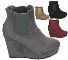 LADIES WOMENS FAUX LEATHER WEDGE ZIP BACK ANKLE GUSSET CHELSEA BOOTS SHOES SIZE