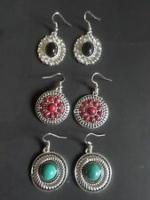 Noble Classical CHOOSE  Turquoise, Red or Black tibet silver hook earrings
