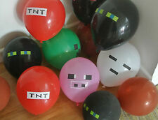 15 x Themed Latex Party Balloons, Minecraft offical Sticker Pack, Party supplies