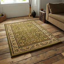 GREEN BEIGE SOFT LARGE CLASSIC TRADITIONAL CARVED HERITAGE RUNNER 14mm THICK RUG