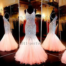 Shiny Backless Evening Dresses Crystal Beads Mermaid New Formal Prom Party Gowns