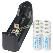 8x 16340 CR123 3.7V 2800mAH GTL Li-ion Rechargeable Battery Cell + Smart Charger