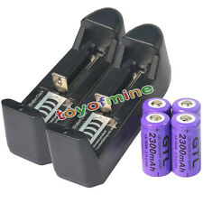 4x 16340 CR123A 123A 3.7V 2300mAh Rechargeable Battery Purple Cell + 2x Charger