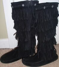 Womens Size 7 Minnetonka Suede Tall Fringe Fringed Moccasin Shoes Boots Leather