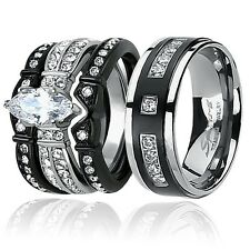 His & Hers Black Stainless Steel Titanium AAA CZ Couple Wedding Ring Band Set
