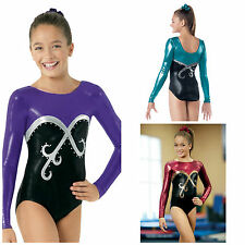 NEW Foil Metallic Swirl Rhinestones Long Sleeve Competition Gymnastics Leotard