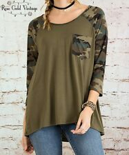 NWT Boutique Entro Camo Pocket Raglan Tee - Green - Small, Medium & Large