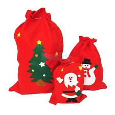 Christmas Festive Red Fabric Gift Candy Presents Bag Santa Sack Home Accessories