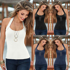 Women Sexy Halter Vest Top Summer Sleeveless Blouse Casual Tank Tops T-Shirt