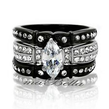 Classy Marquise Cut Women's Black Stainless Steel Wedding Ring Band Set SZ 5-10
