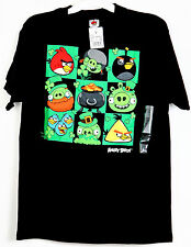 New Mens Authentic Angry Birds T-Shirt Black Green S M  XL