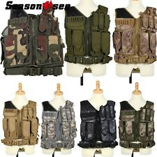 Tactical Military SWAT Police Airsoft Molle Combat Vest Waistcoat Pistol Holster