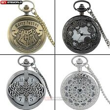 Women Mens Vintage Pocket Watch Chain Quartz Necklace Pendant Antique Skeleton