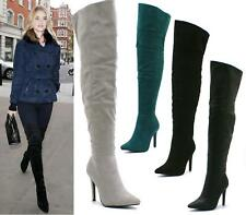 LADIES WOMENS STILETTO HEEL OVER THE KNEE THIGH HIGH CALF POINTED TOE BOOTS SIZE