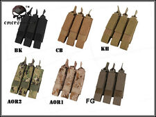 Emerson Tactical Modular MOLLE Triple Open Top SMG Magazine Mag Pouch Holster