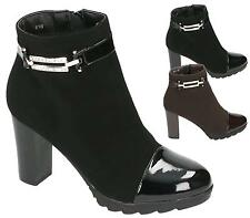 WOMENS LADIES HIGH BLOCK HEEL CLEATED NUBUCK / PATENT PLATFORM ANKLE BOOTS SHOES