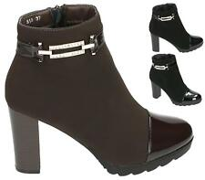LADIES WOMENS PLATFORM ZIP UP DIAMANTE BUCKLE BLOCK HIGH HEEL ANKLE BOOTS SHOES