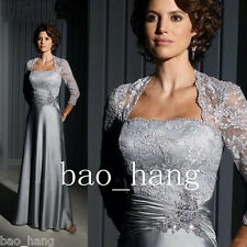 Pewter Lace Mother of the Bride Dress Suits Long Sleeve 2017 Evening Plus Gown