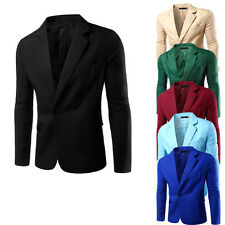 Fashion  Mens Casual Formal One Button Suit Blazer Stylish Coat Jacket Slim Tops