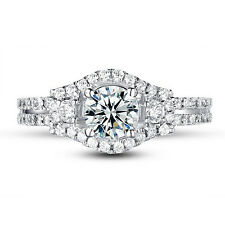 Bridal 1.8CT Round Cut CZ 10k White Gold Plated Wedding Engagement Ring Size 6-8