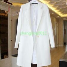 Womens Korean Style Wool Blend One Button Lapel Collar Slim Fit Jacket Coat Size