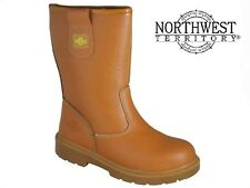 MENS NORTHWEST LINED RIGGER BOOT STEEL TOE CAP SAFETY WORK BOOTS TAN SIZE 5-13