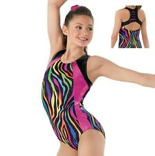 NEW Rainbow Zebra Pink Sparkle Slash Racer Back Gymnastics Leotard Child Sizes