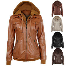 Hot Womens Ladies Hoodie Hooded Long sleeve Zipper Leather Blazer Jacket Coat