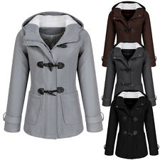 Womens Slim Long Wool Winter Coat Casual Hooded Jacket Windbreaker Outwear