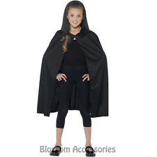 CK867 Hooded Black Costume Cape Robe Child Boys Girls Vampire Witch Dracula