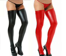 Cool Women Sexy Lingerie Stocking Legging Faux leather Clubwear + G-String AT