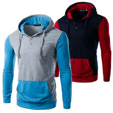 Mens Hoodie Cotton Pullover Patch Sweatshirt Tracksuit Jacket Casual Sports Coat