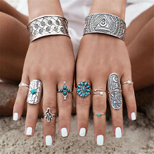 Unique Silver Punk Vintage Ring Womens Retro Geometry Finger Rings Boho Style AT