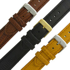 Leather Watch Band Strap Padded Lizard Grain Choice of Colors 16mm 18mm 20mm