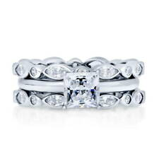 Silver Princess Cubic Zirconia CZ Solitaire Bubble Engagement Ring Set 2.84 CT