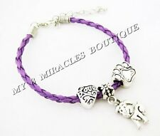Girls PUPPY Charm Bracelet LOVE Purple Dog Lover Paw Adjustable Christmas Gift